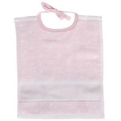 Hímezhető kicsi előke rózsaszín pöttyös