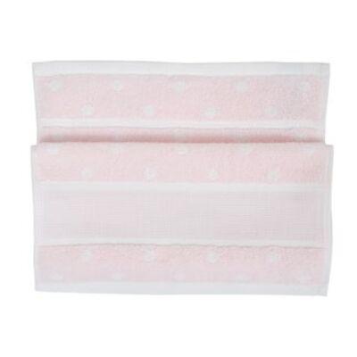 Hímezhető kéztörlő 30x50 rózsaszín pöttyös