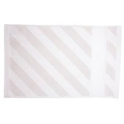 Hímezhető kéztörlő 30x50 szürke színű csíkos mintával