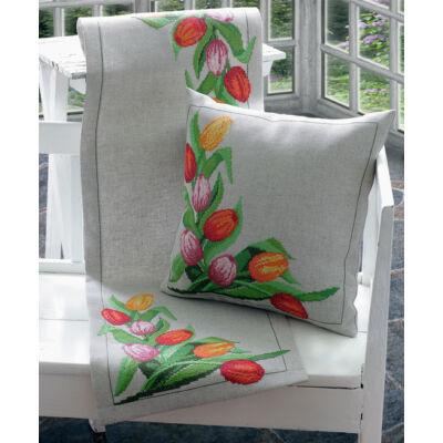 Anchor keresztszemesen hímezhető asztali futó készlet - Tulipános