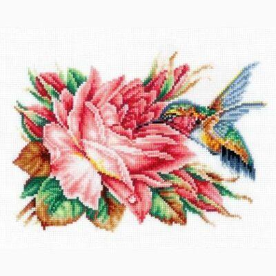 Andriana keresztszemes készlet - Kolibri és a rózsa