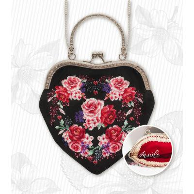 Keresztszemesen hímezhető  táska készlet - Vörös rózsák