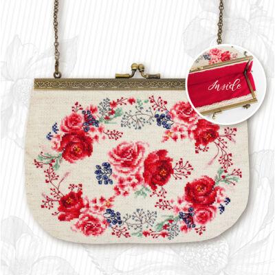 Keresztszemesen hímezhető  táska készlet - Rózsák