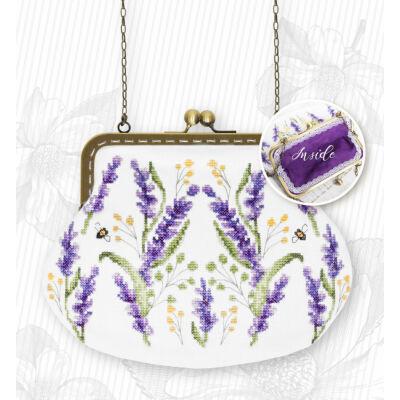 Keresztszemesen hímezhető  táska készlet - Levendula