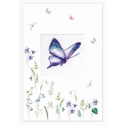 Luka-s keresztszemesen hímezhető képeslap készlet - Kék pillangó