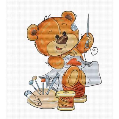 Luka-s keresztszemes készlet Teddy Bear - Tű és cérna