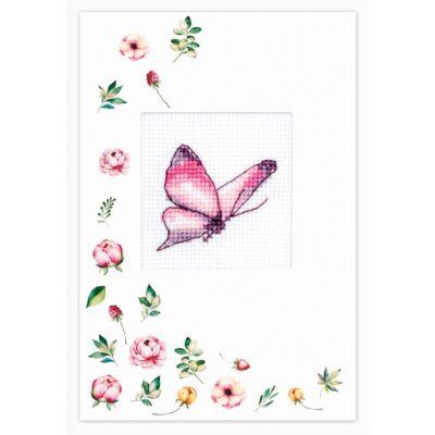 Luka-s keresztszemesen hímezhető képeslap készlet - Rózsaszín pillangó