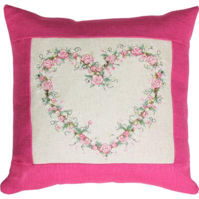 Keresztszemesen hímezhető párna készlet - Virágos szív