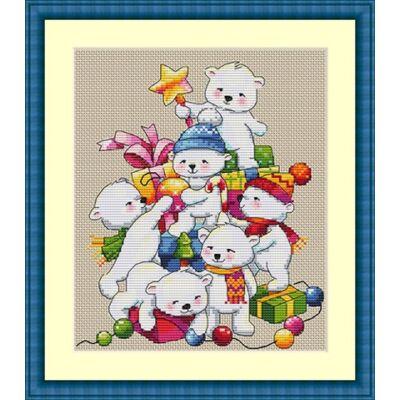 Merejka keresztszemes készlet - Karácsonyi macik
