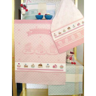 Hímezhető konyharuha-Muffin mintás-rózsaszín-60x75