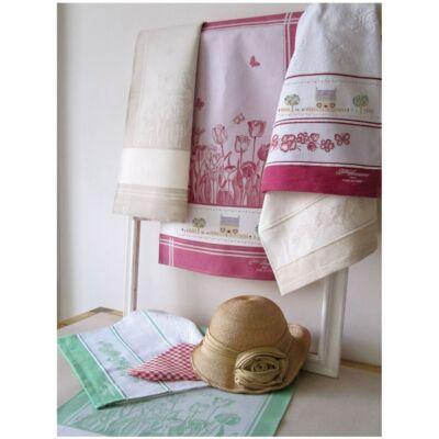 Hímezhető konyharuha-Tavasz-virágos mintás-bézs-45x70