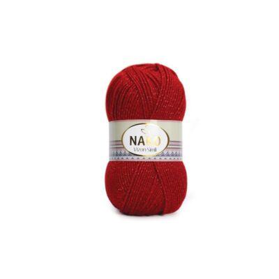 Nako Vizon Simli csillogó fonal piros - 1175