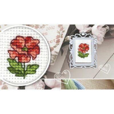 Keresztszemes készlet - Piros virág