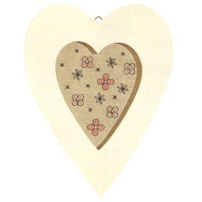 Keresztszemes készlet-Szív alakú fa keretben