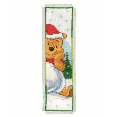 Keresztszemes könyvjelző készlet- Micimackó karácsonya