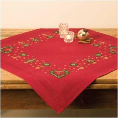 Előnyomott, keresztszemes karácsonyi piros terítő készlet