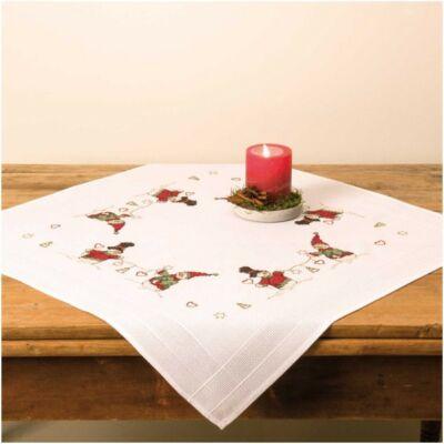 Előnyomott, keresztszemes karácsonyi terítő készlet - Hóember
