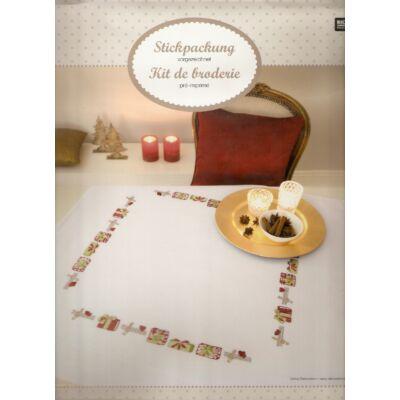 Előnyomott laposöltéses karácsonyi asztalterítő készlet