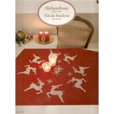 Előnyomott, keresztszemes karácsonyi terítő készlet