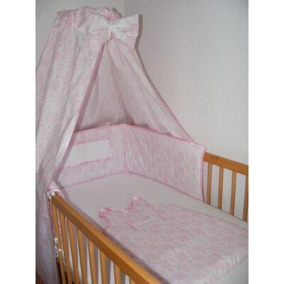 Hímezhető baldachin és fejvédő-Állatos rózsaszín