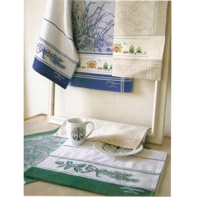 Hímezhető konyharuha-Tél-bézs-45x70