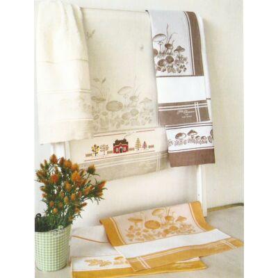 Hímezhető konyharuha-Ősz- Gomba mintás-bézs-45x70