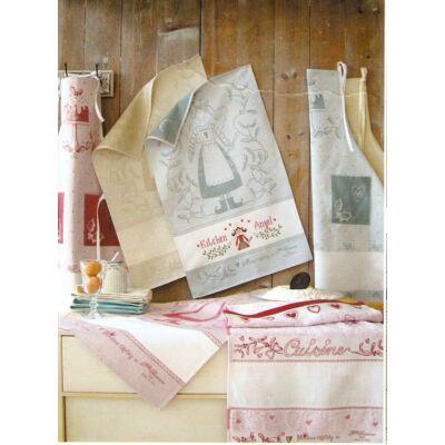 Hímezhető konyharuha-Téli angyalka mintás-bézs-45x70