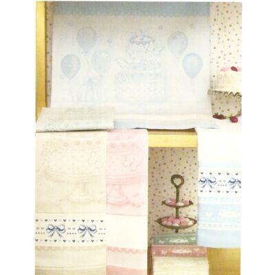 Hímezhető konyharuha-Torta mintás-rózsaszín-60x75