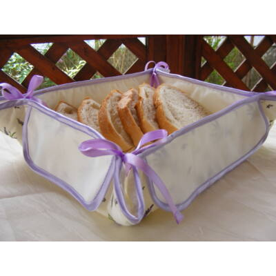 Hímezhető kenyérkosár-levendulás-lila szegéllyel