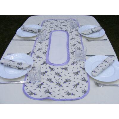 Hímezhető levendulás terítő-asztalközép ovális-lila szegéllyel