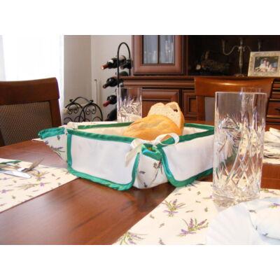 Hímezhető kenyérkosár-levendulás-zöld szegéllyel